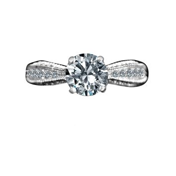 Radiant Round 1.5 CT. Solitaire Pinched Split Shank with Accent Stones Simulated Diamond - Diamond Veneer Sterling Silver Engagement/ Wedding Ring 635R4007