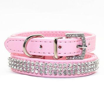 Bling Pet Dog Collar Led Pet Cats PU Leather Dog Collares Perros Rhinestone Buckle Puppy Necklace For Small Dogs Pet Accessories