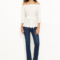 White Belted Scallop Trim Off The Shoulder Top -SheIn(Sheinside)