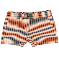 Women's Shorts in Orange and Navy Seersucker by Olde School Brand - FINAL SALE
