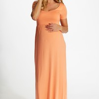 Peach Solid Short Sleeve Maternity Maxi Dress