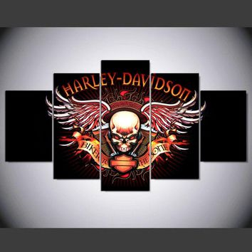 Harley-Davidson Motorcycle Skull Wings Logo bar and shield wall art on canvas