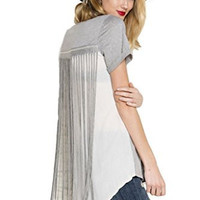 Easel Women's Short Sleeve Knit Tunic Top with Fringe Trim Back and Hi Low Hem
