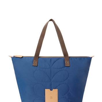 Orla Kiely Women's Stem Quilted Nylon Large Tote Bag - Blue