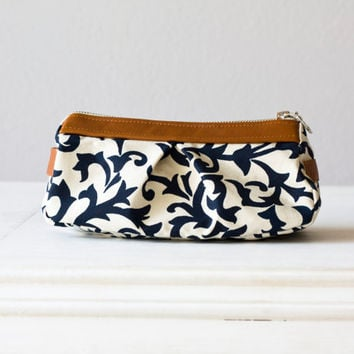cosmetic case  , makeup bag in Blue cotton floral pattern and Brown leather