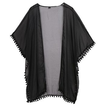 Women Chiffon Kimono Cardigan Boho Short Sleeve Plus Size Long Blouse Solid Side Split Perspective Shirt Summer Cover Up Beach