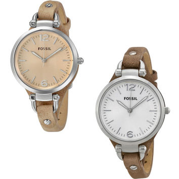 Fossil Georgia Leather Bracelet Ladies Watch