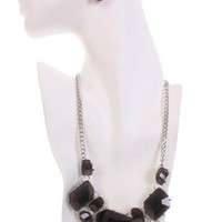 Black Silver Gemstone Accessories Set
