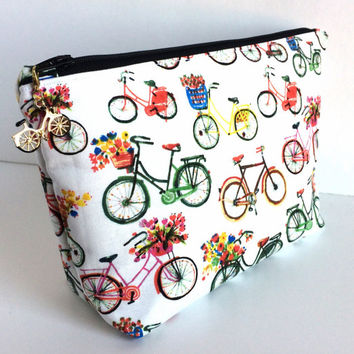 Large Makeup Bag, Bicycle Makeup Bag, Large Cosmetc Bag, Large Pencil Pouch, Planner Pouch, Large Art Bag