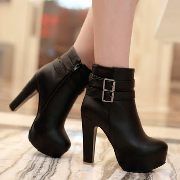 Madelyn Faux Leather Ankle Boots