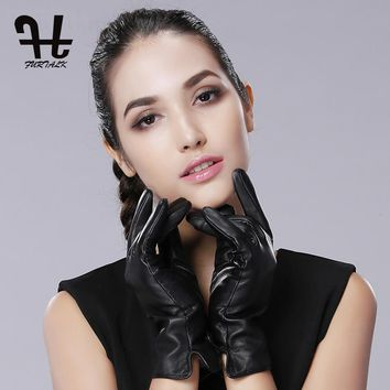 FURTALK Women's Leather Glove Touchscreen Cashmere Lining Texting Driving Winter Warm Nappa Leather Gloves