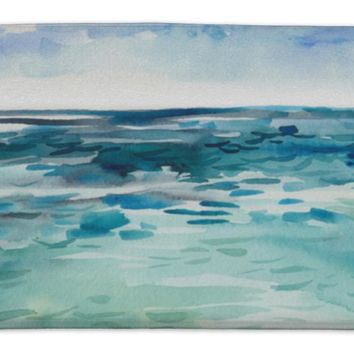 Bath Rug Mat No Slip Microfiber Memory Foam, White Blue Green Watercolor Sea Waves Cloud Beach, 34x21