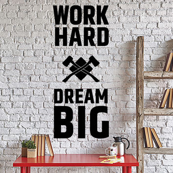 Wall Decal Motivation Quotes Work Hard Dream Big Home Interior Unique Gift z4018