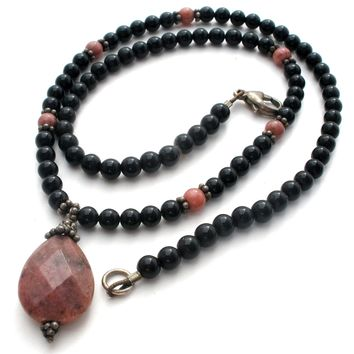 Black Onyx & Pink Rhodonite Bead Necklace