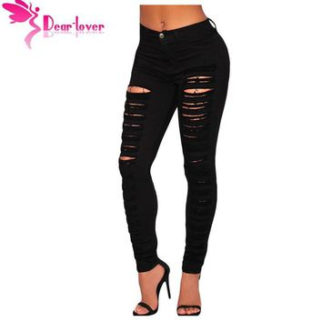 Dear Lover Fashion Casual Black Denim Destroyed Hole High-waist Skinny Jeans Pencil Ripped Pants Trousers Womans Calcas LC78646
