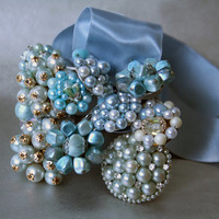 Icy Light Blue Vintage (1950s) Earrings Shower Curtain Hooks