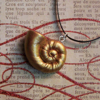 Small Ursula Inspired Golden Spiral Shell Pendant Necklace