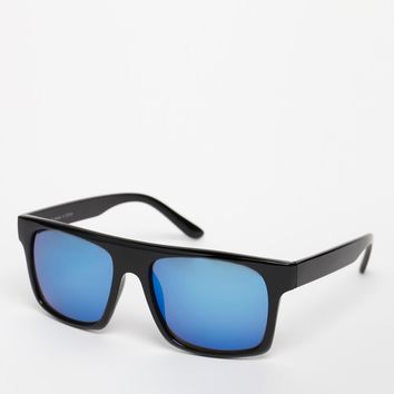 ASOS Flat Brow Sunglasses with Blue Mirror Lens