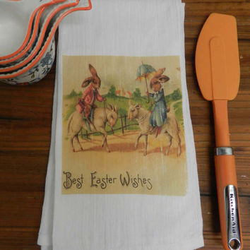 Easter Tea Towel Vintage  Victorian Dressed Rabbits Riding Sheep Flour Sack Hostess Gift