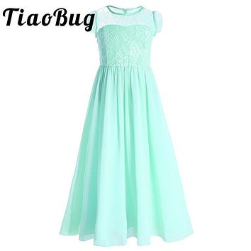 New Arrival Kids Girls Chiffon Flower Dress Formal Party Ball Gown Lace Cap Sleeves Prom Princess Bridal Children Tutu Dress