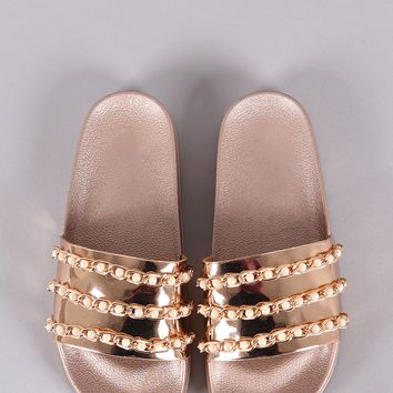 Mirror Metallic Pearl Chain Link Slide Sandals
