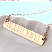 SALE-FREE SHIPPING- Engraved Bar, Date Bar Necklace, Roman Numerals, Rose Gold, Commemorative Necklace, Engraved Jewelry, Personalized, Date