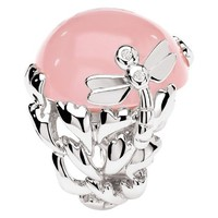 GOURMANDE Libellule ring in 18K white gold and pink quartz