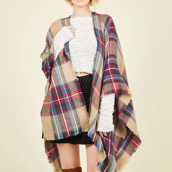 Thanks for Cabin Me Plaid Shawl in Tan | Mod Retro Vintage Shawls | ModCloth.com