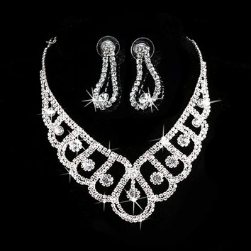 New Fashion Silver Crystal Jewelry Sets Wedding Bridal Prom Rhinestone Necklace Earrings Jewelry #Y51#