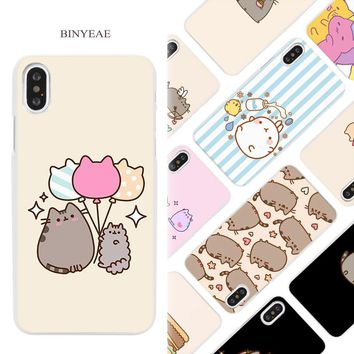 BINYEAE funny lovely Pusheen Cat Hard White Phone Case Cover Coque Shell for iPhone X 6 6S 7 8 Plus 5 5S SE 4 4S 5C