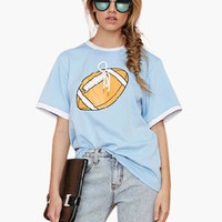 Light Blue Football Print T-shirt