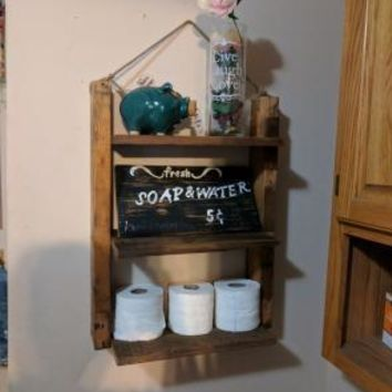 Reclaimed Wood Hand Made Ladder shelf includes wood sign.