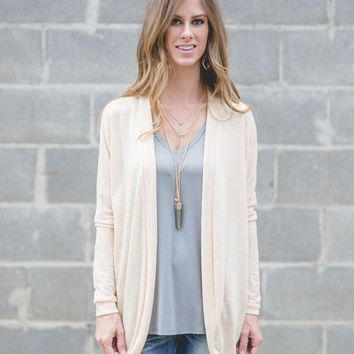 Always A Charm Open-Front Cardigan (Apricot Blush)
