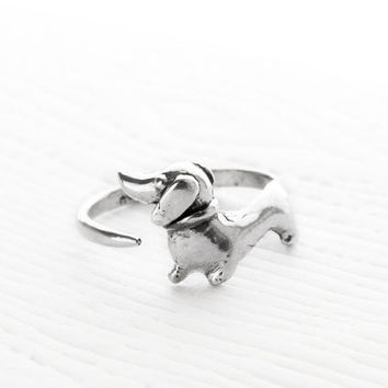 1Pcs Drop Shipping Cute Dachshund Ring Adjustable Retro Punk Dachshund Ring Puppy Animal Wrap Ring Jewelry For Women Girl Gift