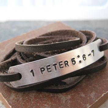 Custom Bible Verse Leather Wrap Bracelet, unisex