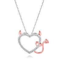 Diamond Accent Devil Heart Pendant in Sterling Silver and 18K Rose Gold