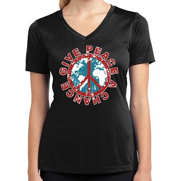 Ladies Peace T-shirt Give Peace a Chance Moisture Wicking V-Neck