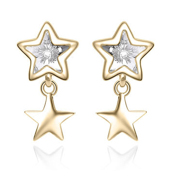 YAN & LEI Sterling Silver Swarovski Crystal Double Stars Stud Earrings