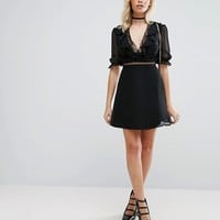 Fashion Union Dress With Spot Mesh at asos.com