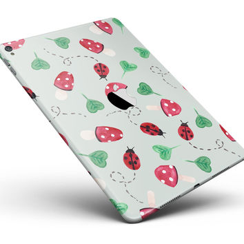 "The Sping Lady Bug and Heart Clovers Full Body Skin for the iPad Pro (12.9"" or 9.7"" available)"