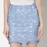 Blue Crochet Lace High Waisted Pencil Skirt