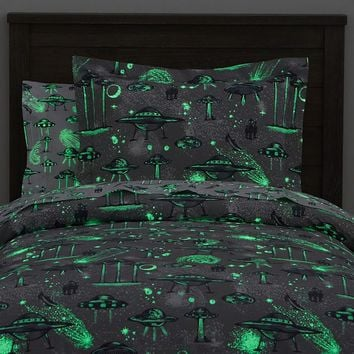 Organic Space Ship Glow-in-the-Dark Duvet Cover
