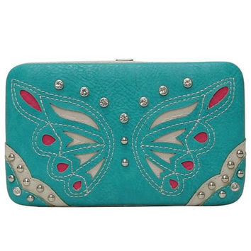 * Turquoise Western Butterfly Patch Embroidery Wallet  M