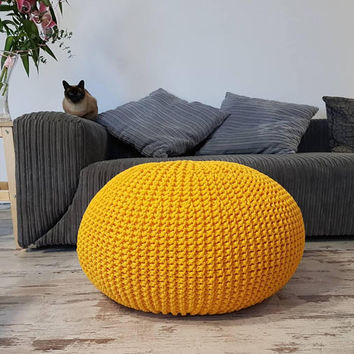 Knitted Pouf - colours, Yellow, Seat, Crochet Pouf, ottoman, footstool