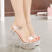 Sexy Jelly Shoes crystal Sandal Peep Toes