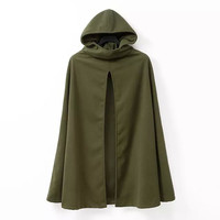 Army Green Hoodie Cape Coat