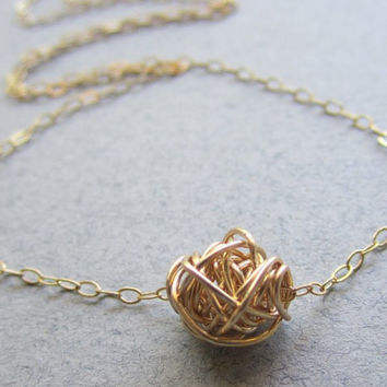 Gold Love Knot Necklace, Perfect Gift