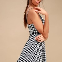 Plaid Romance Black and White Gingham Print Skater Dress