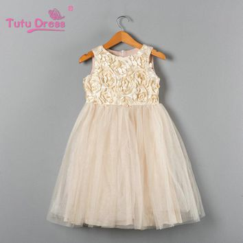 Cream Cheap Rosette Girls Dresses Birthday Kids Clothes Princes Party Dress Children Clothing Wedding Pageant Ball Gown Dress