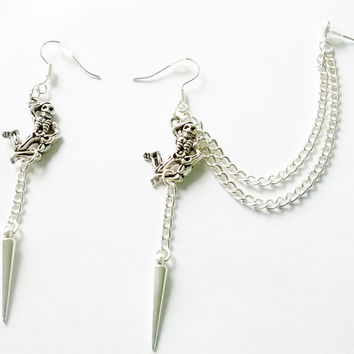 Antique silver skeleton and spike cartilage earrings (pair)
